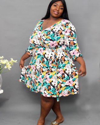 Green Floral Faux Wrap Dress