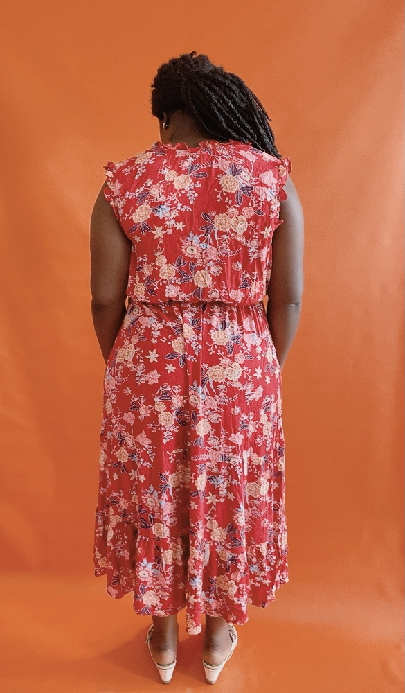 RED FLORAL SLEEVELESS