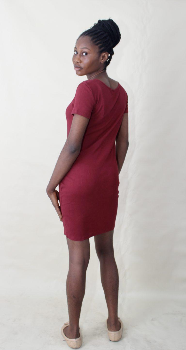 RED LACE UP MINI DRESS