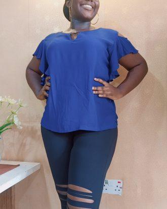 Blue Cold-Shoulder Top