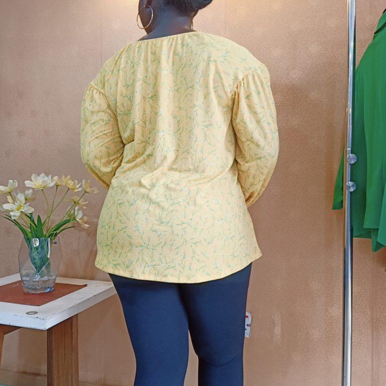 Yellow & Green Printed frill Top
