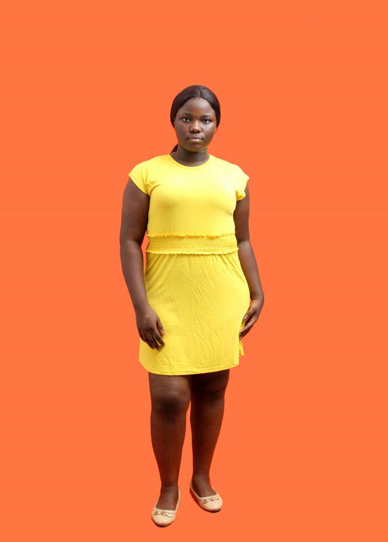 Yellow Waisted T-shirt Dress