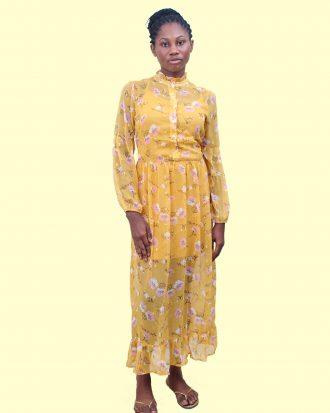 Mustard Floral Chiffon Maxi
