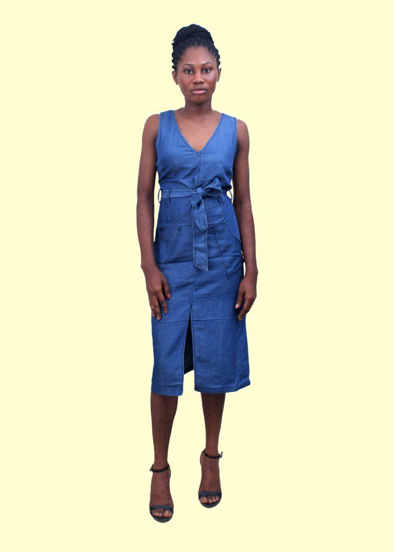 Denim Slitted Dress