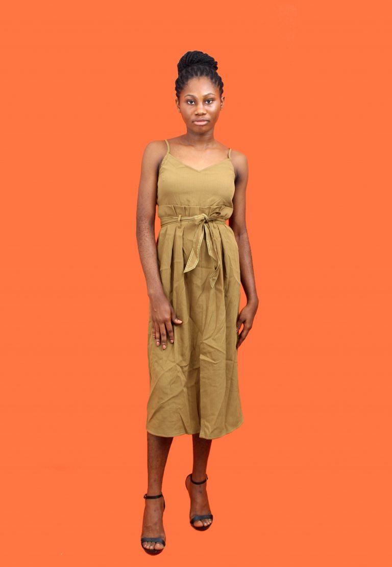 Brown High Waist Dress