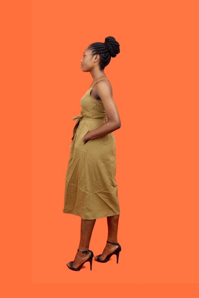 Brown High Waist Dress - LC and Cheeks Shop