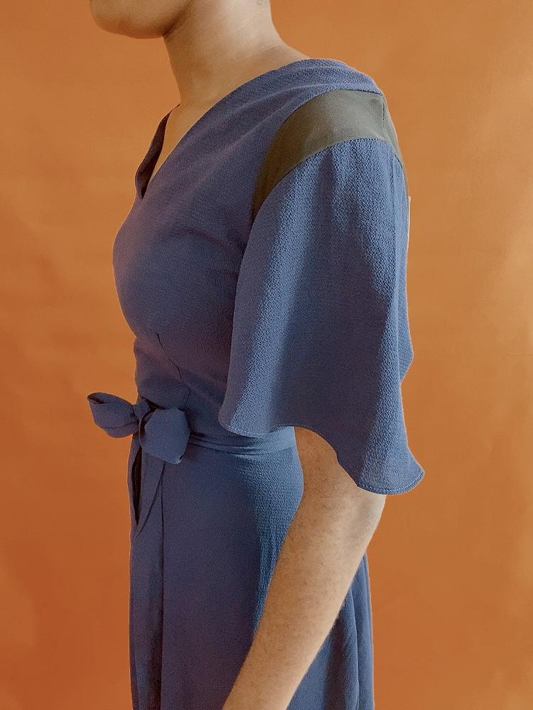 NAVY FRILL WORK DRESS