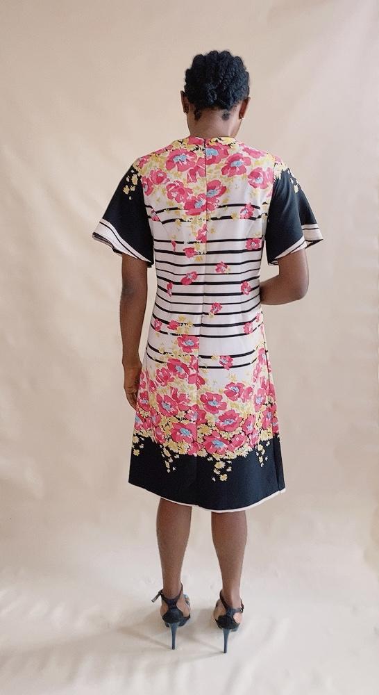 MONO FLORAL STRIPED DRESS