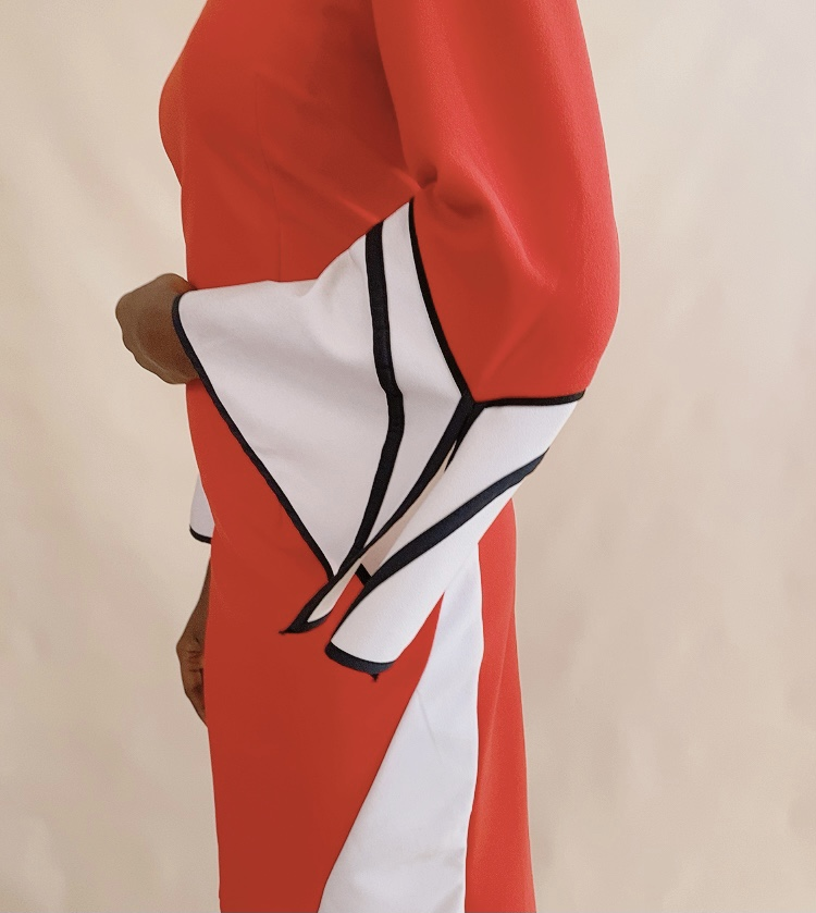 RED & WHITE A-LINE DRESS