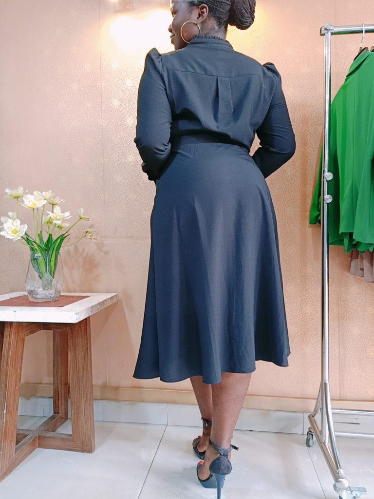 BLACK COLLARED SHIRT DRESS