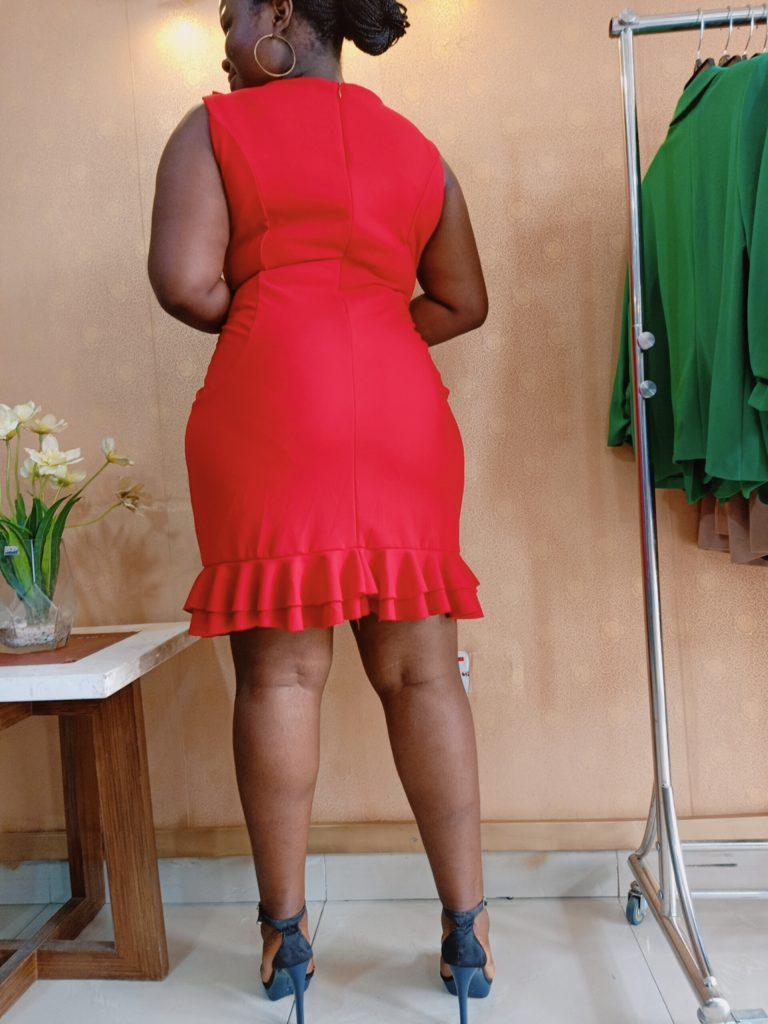 Red Frill Sleeveless Midi